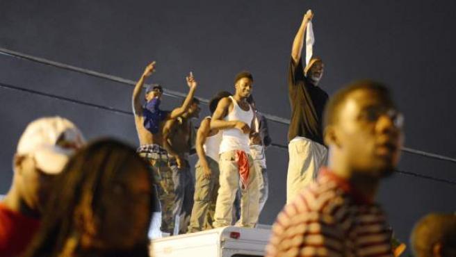 Protestas en Misuri por la muerte de Michael Brown.
