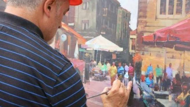 Concurso de Pintura Rápida de Torrelavega con un retrato de la Plaza Roja