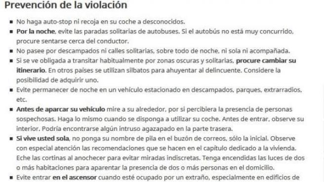 Consejos para la prevención de la violación publicados por el Ministerio de Interior