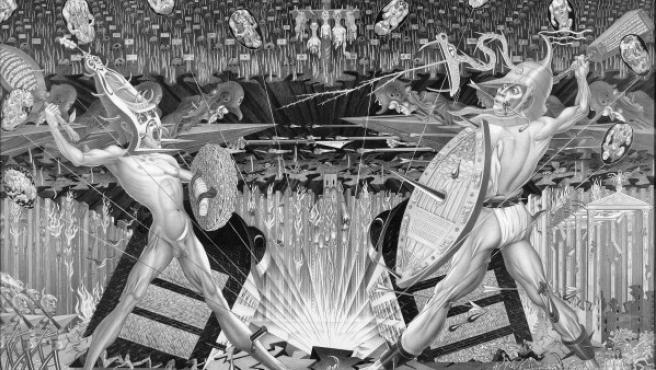 El panel central de Guerra y Paz muestra a dos dioses arcaicos batallando entre sí mientras el mundo se derrumba