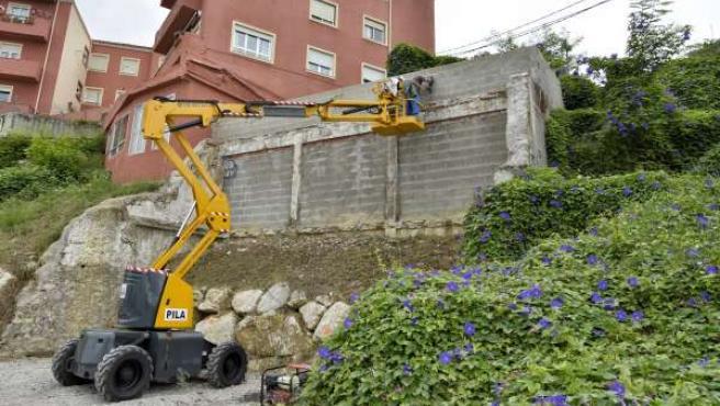 Trabajos preparación muro