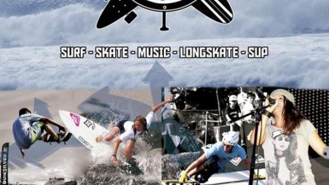 Cartel del V Festival de la Escuela Cántabra de Surf