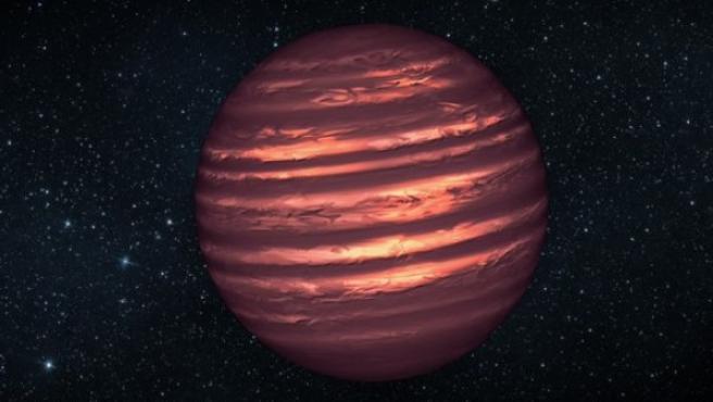 Recreación artística de un planeta gigante, considerado enana marrón.