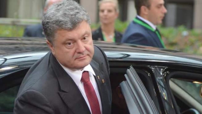 El presidente de Ucrania, Petro Poroshenko, a su llegada a Bruselas.