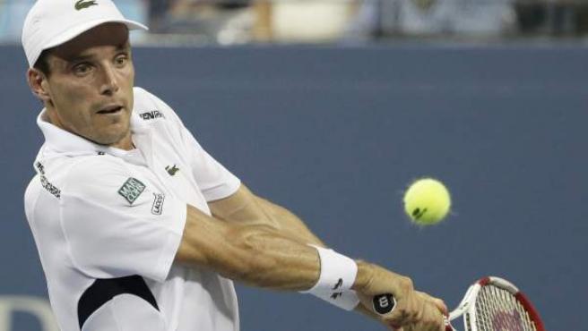 Roberto Bautista, en su partido del Open USA, que perdió ante Roger Federer.