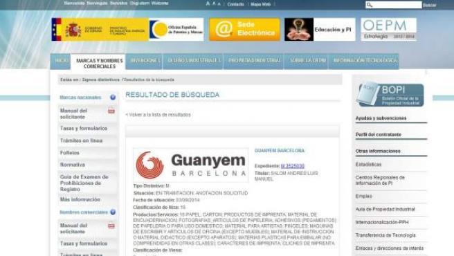 Solicitud de registro de Guanyem en la Oficina Española de Patentes y Marcas.