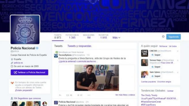 Cuenta de la Policía en Twitter, con 1 millón de usuarios.