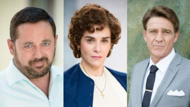 De izquierda a derecha: Pepón Nieto, Anabel Alonso y Juanjo Artero, nuevos personajes de la tercera temporada de la serie 'Amar es para siempre'.