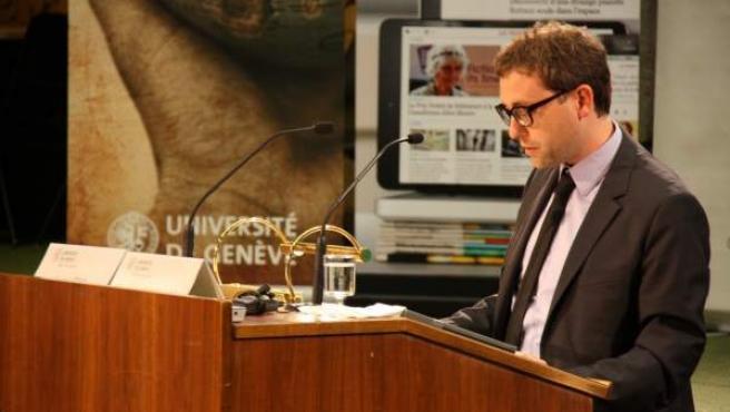 El secretario general del Consell de Diplomàcia Pública de Catalunya (Diplocat), Albert Royo, en una conferencia en la Universidad de Ginebra (Suiza).c