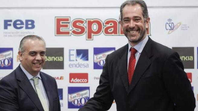 José Luis Saez y Juan Antonio Orenga en la presentación del nuevo seleccionador.
