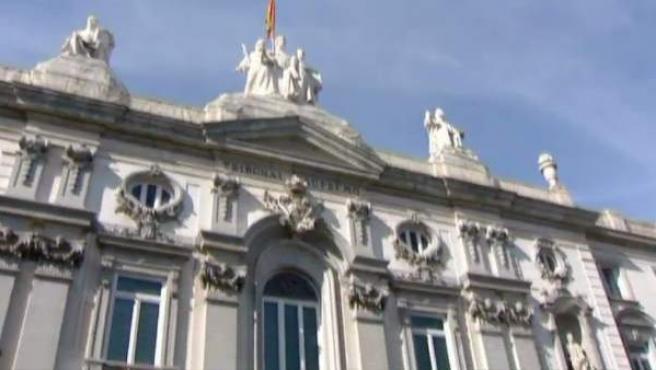 Un detalle de la fachada del Tribunal Supremo, en Madrid