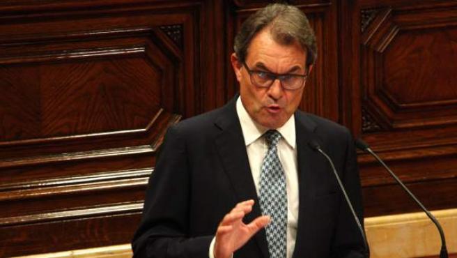 El presidente de la Generalitat, Artur Mas, durante su primera intervención en el debate de política general en el Parlamento catalán.
