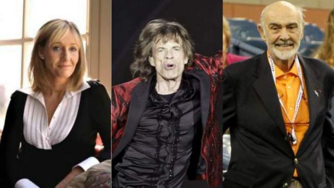 De izquierda a derecha: J.K. Rowling, Mick Jagger y Sean Connery, tres celebridades que se han postulado a favor o en contra de la independencia de Escocia.