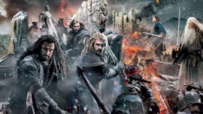 Fragmento del póster gigante que ha publicado Warner sobre la última entrega de la película de 'El Hobbit'.