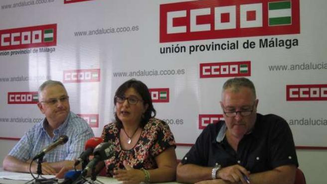 Juan Bautista, Carolina Ortiz y Enrique Moyano, de FSC-CCOO Málaga