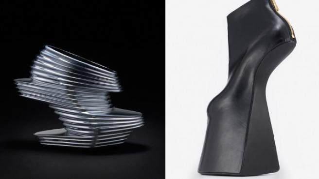 Desde la izquierda, 'Beyond Wilderness' (2013), de Iris van Herpen para X United Nude; 'NOVA' (2013), de Zaha Hadid para X United Nude, y 'Atom' (2013), de Noritaka Tatehana