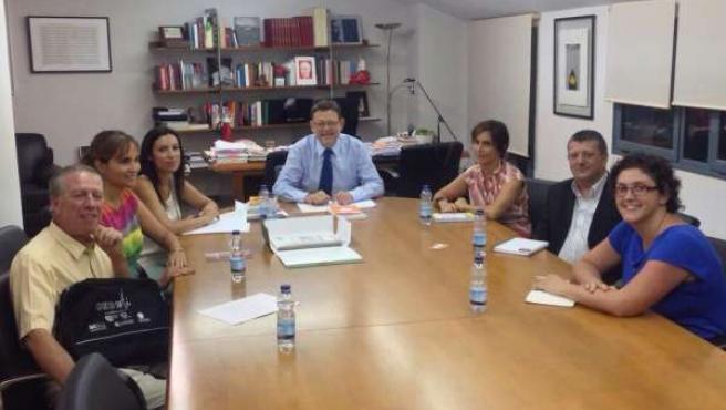 Ximo Puig en la reunión con la Coordinadora ONGD