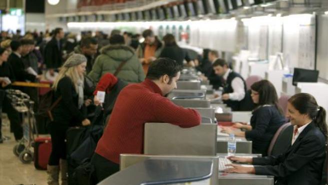 Mostradores de facturación del aeropuerto de Barajas.