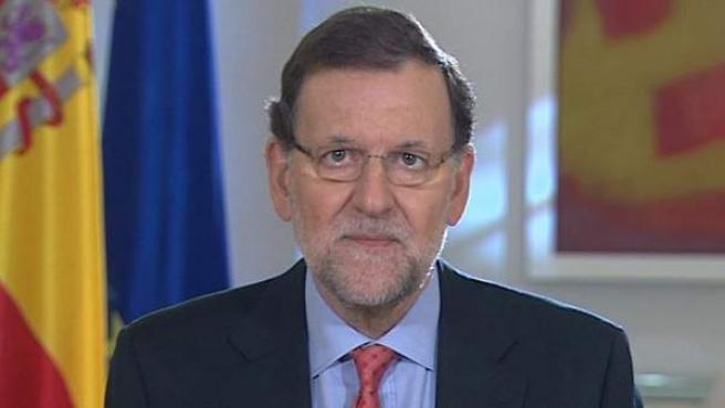 Imagen de video facilitada por la Presidencia del Gobierno del jefe del Ejecutivo, Mariano Rajoy, durante la declaración.