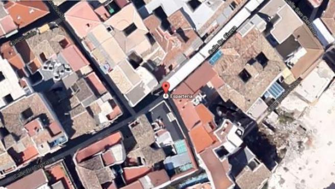 Vista vía satélite de la calle Espartería, en el centro de Jaén.