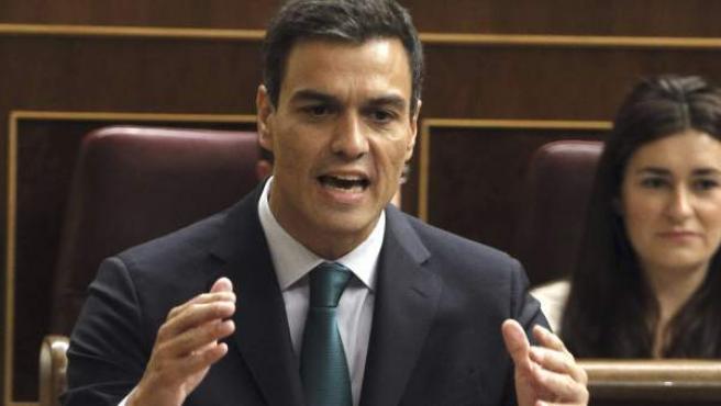 El secretario general del PSOE, Pedro Sánchez, en el Congreso.