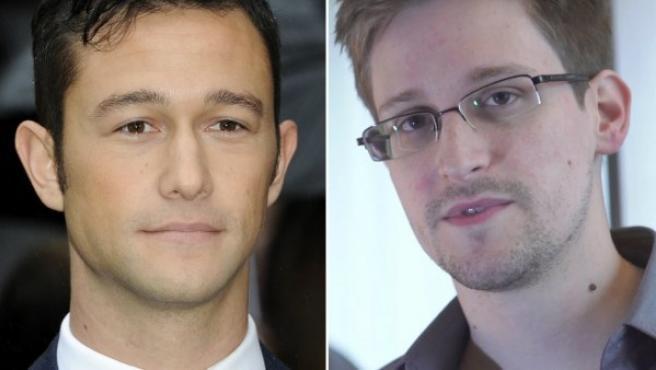 El actor Joseph Gordon-Levitt y el exagente de la CIA Edward Snowden.
