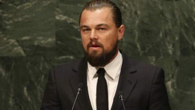 Leonardo DiCaprio durante su discurso en la Cubre del Clima en Nueva York.