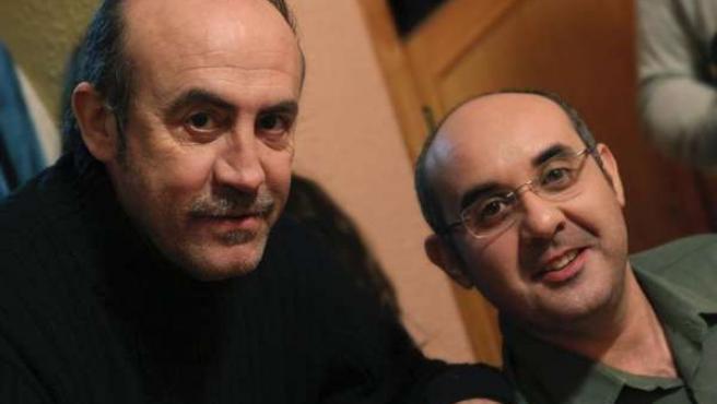 Pedro Reyes y Jordi Marquina en el rodaje de 'Sin v ida propia'