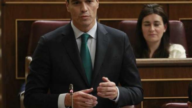 Pedro Sánchez, secretario general del PSOE, en el hemiciclo