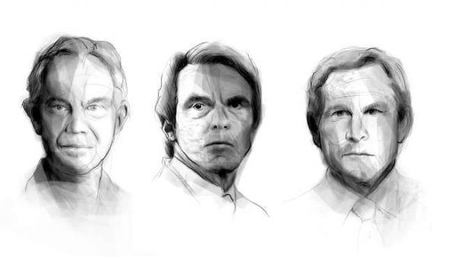 Tony Blair, Aznar y George W. Bush