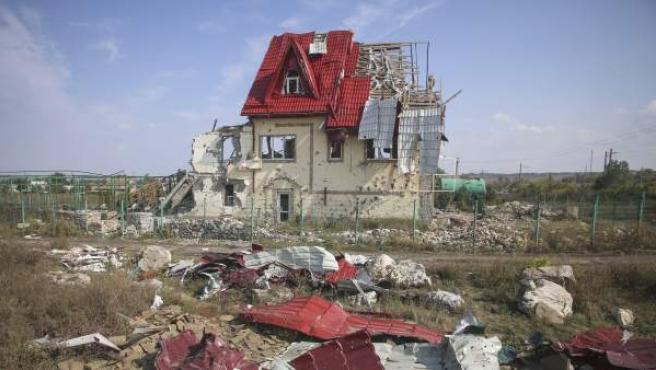 Un edificio destruido por los combates en Slaviansk, al este de Ucrania.