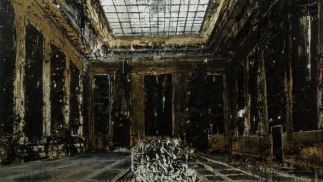 Pintura de gran formato que muestra un interior neoclásico, una referencia al estilo de Albert Speer, el arquitecto de Hitler