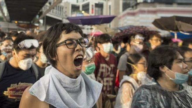 Manifestantes en Hong Kong, durante las protestas de este fin de semana.