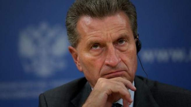 El alemán Günther Oettinger, durante una comparencia, en una imagen de archivo.
