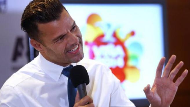 Ricky Martin en la rueda de prensa previa a su concierto en la 55 edición del Festival Internacional de Viña del Mar (Chile).