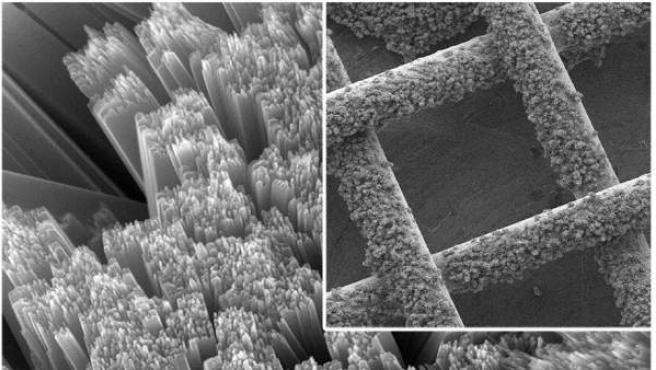 Vista microscópica del panel solar de malla creada por investigadores de la Universidad de Ohio.