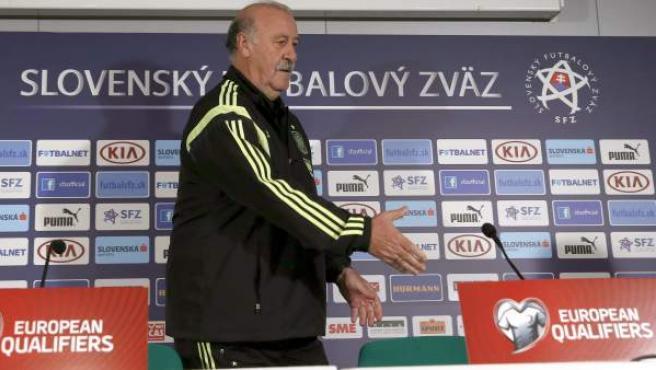 Vicente del Bosque, en rueda de prensa antes del partido ante Eslovaquia.