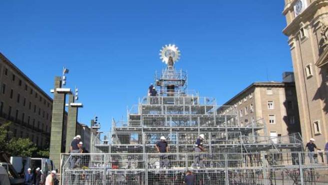 Estructura de la Ofrenda de la Flores de la Virgen del Pilar