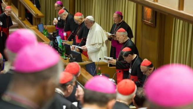 """Fotografía facilitada por el periódico vaticano """"L'Osservatore Romano"""" que muestra al papa Francisco (c) presidiendo el Sínodo de los obispos extraordinario sobre la familia en el Vaticano."""