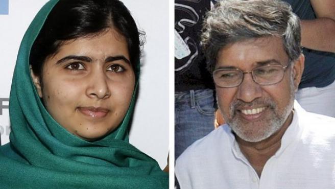 Combo con una imagen de la adolescente paquistaní Malala Yousafzai (i) y otra del presidente de la Marcha Global contra el Trabajo Infantil, el indio Kailash Satyarthi (d) premiados ambos con el Nobel de la Paz 2014.