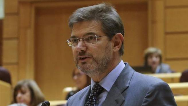 El ministro de Justicia, Rafael Catalá, durante su intervención en la sesión de control al Gobierno en el Senado.