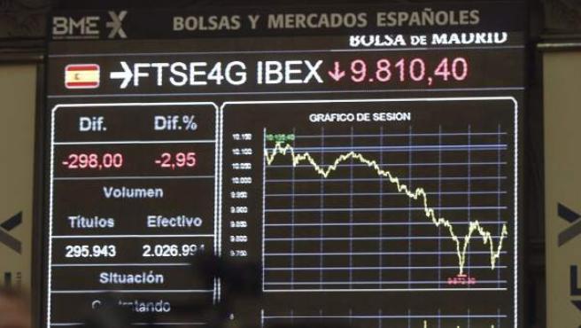 Detalle de un panel informativo de la Bolsa en el parqué madrileño, este miércoles.