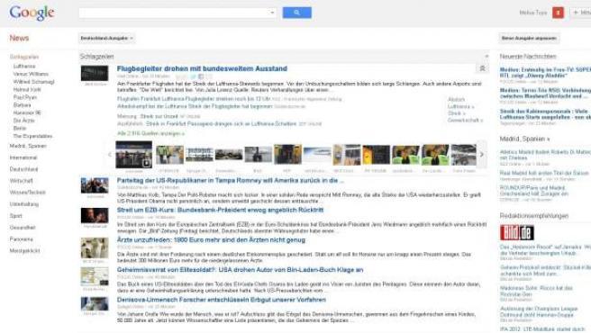 La versión alemana de la portada de Google News.