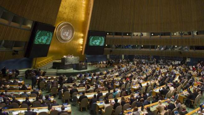 Vista de la primera ronda de votación en la Asamblea General de la ONU para cubrir vacantes en el Consejo de Seguridad