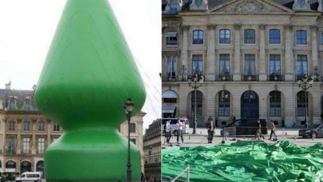 Imagen de la escultura de un árbol de Navidad en París, antes y después de ser destruida.