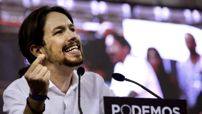 El líder de Podemos, Pablo Iglesias, durante su intervención en la Asamblea Ciudadana 'Sí Se Puede'.