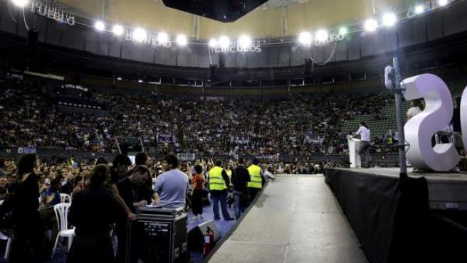 Vista de las gradas del Palacio de Vistalegre durante la Asamblea Ciudadana 'Sí se puede' de Podemos, que busca sentar las bases para constituirse como partido político.