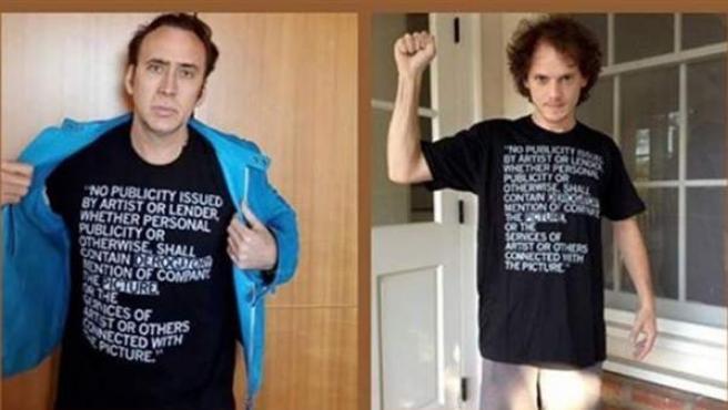 Nicolas Cage y el equipo artístico de 'Dying of the Light' posan con una camiseta protestando contra la productora de la película.