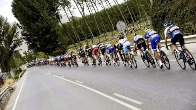 Imagen de la séptima etapa de la Vuelta a España, con final en Albacete.