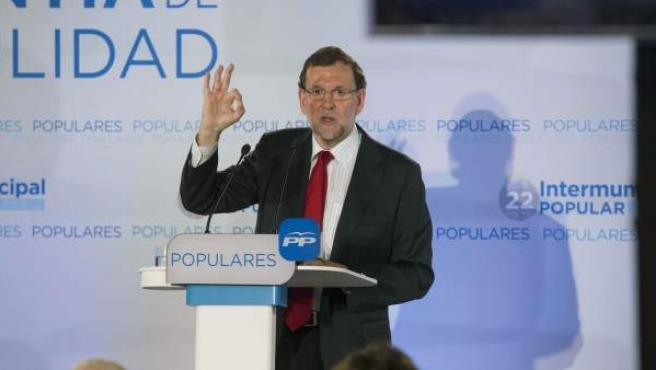 El presidente del Gobierno, Mariano Rajoy, durante la clausura de la Intermunicipal del PP en Murcia.